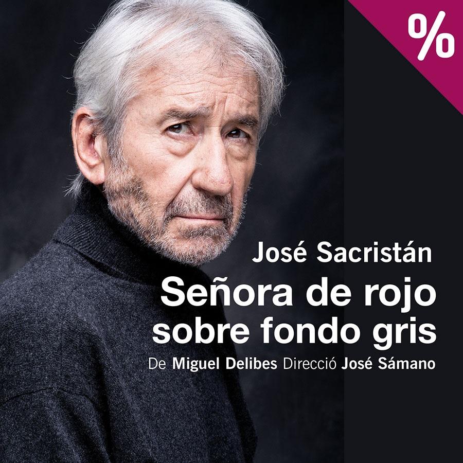 señora de rojo sobre fondo gris josé sacristán teatre romea barcelona